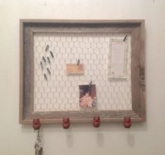 Rustic Frame w/Chicken Wire & Owl Knobs  Barn by ReFeatherYourNest, $49.00