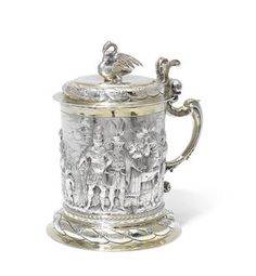 A large 17th century German silver and parcel-gilt tankard maker's mark ND unrecorded, Danzig (Gdansk Poland) second half of 17th century