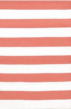 Dash and Albert Catamaran Stripe Coral/White Rain or Shine Rug