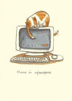 Mouse in CyberSpace. Illustrations by Anita Jeram Crazy Cat Lady, Crazy Cats, Anita Jeram, Happy Week End, Matou, Cat Mouse, Children's Picture Books, Cat Drawing, Portsmouth