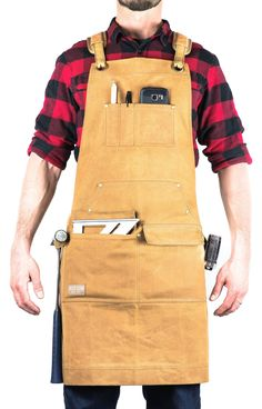 Hudson Durable Goods - Woodworking Edition - Waxed Canvas Apron (Brown) - Padded Straps, Quick Release Buckle, Hammer Loops, Adjustable M to XXL Why buy a consumable product when you can invest in an enduring piece you are proud of? Woodworking Apron, Woodworking Logo, Learn Woodworking, Woodworking Crafts, Woodworking Plans, Popular Woodworking, Wood Turning Lathe, Wood Turning Projects, Wood Projects