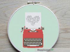modern cross stitch pattern typewriter LOVE by Happinesst on Etsy Diy Embroidery, Cross Stitch Embroidery, Embroidery Patterns, Modern Cross Stitch Patterns, Homemade Gifts, Cross Stitching, Types Of Stitches, Pattern Design, Etsy