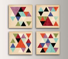 "Mid Century Modern - Wall Art Grouping of Canvas Panel Art - Four Square Display of Canvases  "" Tangent "" by TheModernArtShop on Etsy https://www.etsy.com/listing/181514010/mid-century-modern-wall-art-grouping-of"