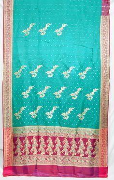 Heavy Pure Silk Zari Brocade Floral Green Pink Vintage Indian Fabric Saree Sari  TP1571