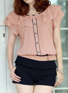 "world-of-asian-style: "" Flouncing Short Sleeves Chiffon Blouse Up to Off!… world-of-asian-style: "" Flouncing Short Sleeves Chiffon Blouse Up to Off! Crop Top Designs, Blouse Designs, Cute Blouses, Blouses For Women, Online Blouse Shopping, Korean Blouse, Blouse Outfit, Blouse Styles, Korean Fashion"