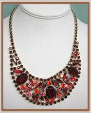 Juliana D & E Sticks and Stones Rhinestone Necklace Red and Orange from Cobayley Vintage Jewelry Antiques Collectibles on Ruby Lane