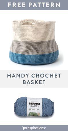 Crochet basket 498773727482029992 - Bernat Maker Home Dec Yarn Pattern Crochet Home, Cute Crochet, Crochet Crafts, Easy Crochet, Crochet Projects, Crochet With Cotton Yarn, Crochet Yarn, Crochet Stitches, Crochet Basket Pattern