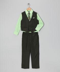 Black & Green Four-Piece Vest Set - Infant