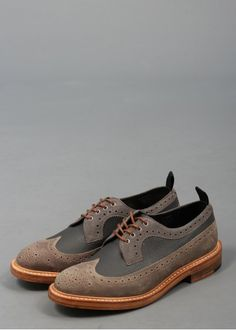 Tricker's x Triads Golosh Longwing Brogues - Grey Distressed Leather, Grey Shoes, Brogues, Pebbled Leather, Oxford Shoes, Footwear, Stylish, Heels, Boots