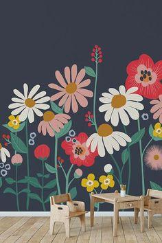 Wall Painting Decor, Mural Wall Art, Wall Murals For Kids, Wall Painting Flowers, Flower Mural, Flower Art, Flower Wallpaper, Paint Designs, Diy Art