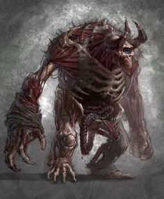 Kronoscyclops - a horned Cyclops without its skin: flesh, intestines and bones are showing - God Of War