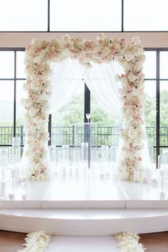 White and blush peony alter Glam Ballroom Wedding by Jen Dillender - Southern Weddings Outdoor and indoor wedding floral flower greenery arches for your ceremony, aisle or church. Wedding Altars, Wedding Ceremony Decorations, Wedding Vows, Wedding Centerpieces, Dream Wedding, Wedding Arrangements, Wedding Ballroom Decor, Quinceanera Centerpieces, Wedding Ideas