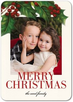 Retro Holly - Flat Holiday Photo Cards in Ruby | Elm & Gray