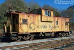 C&O Chessie System Caboose CO 903115, MOW Railroad Train, Montezuma Georgia, CSXT rail yards. Old Chesapeake & Ohio Rail Lines