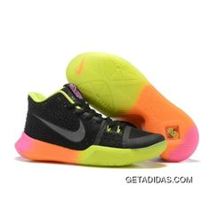 a0683529c366 Nike Kyrie 3 Black Colorful Volt Orange Pink Basketball Shoes New Release