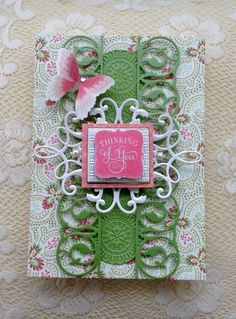Card by Vickie Blakeslee.  Anna Griffin Garden Windows card with metallic layers paper. AG embossing folders and dies also used. Chalkboard sentiments stamp used for greeting.