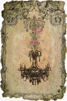 Old chandelier with flowers background
