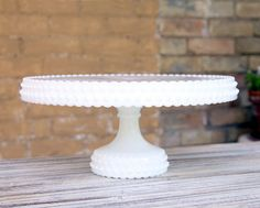 Cake Stand Milk Glass Hobnail