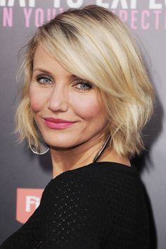 The easiest way to volumize your hair is to debut a shorter length. Cameron Diaz's sweeping bangs, dimensional color, and tousled texture don't hurt either.
