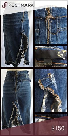 New Listing! Just Cavalli Denim Pencil Skirt Roberto Cavalli Distressed Cut Away Pencil Skirt. Bronze Hook Horse Zipper Pull. Sexy Cutaway Front Slit with ruffled details. Size 48 Italian . Measurements available upon request. Bundle & Save $$ Roberto Cavalli Skirts Pencil