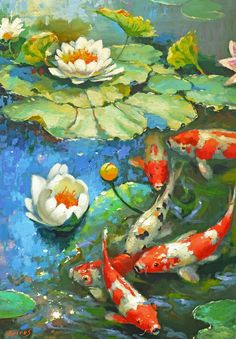 Water Lily – Sunny Pond 2 – Oil Painting on Canvas by Dmitry Spiros, Size: 100 x 70 cm, x - paint and art Koi Art, Fish Art, Koi Painting, Oil Painting On Canvas, Painting Clouds, Painting Wallpaper, Old Paintings, Original Paintings, Paintings Of Fish