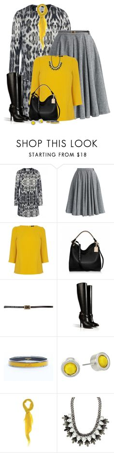 """""""Yellow & Grey"""" by dsclinton ❤ liked on Polyvore featuring Helene Berman, Chicwish, Oasis, Reed Krakoff, Maison Boinet, Ralph Lauren Collection, Hermès, Marc by Marc Jacobs and ALDO"""