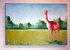 Llama Painting 24x36 Landscape with Llama Llama in by LoganBerard