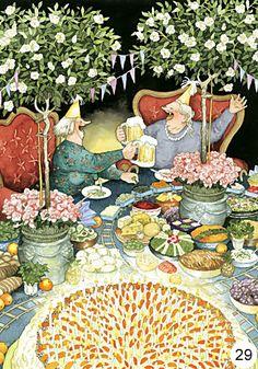 From Finland. Illustration by the artist Inge Look. Birthday Toast, Happy Birthday, Birthday Cake, Birthday Beer, 35th Birthday, Birthday Celebration, Old Lady Humor, Look Older, Alphonse Mucha