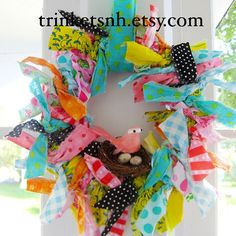 Colorful Fabric Rag Wreath with Bird Nest and Eggs