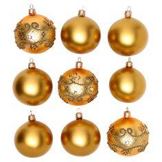 7ba17b55d420f Bolas vidro soprado ouro 80 mm caixa 9 peças modelos diferentes   bolasdenatal  bolasvidro