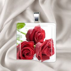 Items similar to Roses are Red - Glass Tile Pendant Necklace - Square image pendant on Etsy Glass Tile Pendant, Glass Pendants, Rose Bouquet, Red Glass, Red Roses, Pendant Necklace, Trending Outfits, Unique Jewelry, Handmade Gifts