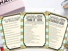 Bachelorette game ideas - this bachelorette game bundle is the perfect way to get all your guests having a fun (and also wild) time for the bride's last fling before the ring! Available instantly to download and print.