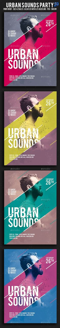 Urban Sounds Party Flyer by sparkg Urban Sounds Party Flyer It's unique flyers, poster design for your business Advertisement purpose. All Elements are in individual