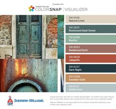 I found these colors with ColorSnap®️️ Visualizer for iPhone by Sherwin-Williams: Natural Linen (SW 9109), Rookwood Sash Green (SW 2810), Restful (SW 6458), Reddened Earth (SW 6053), Jalapeño (SW 6629), Dark Night (SW 6237), Eastlake Gold (SW 0009), Niebla Azul (SW 9137).