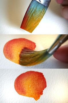 Watercolor Painting Tutorial Tip Technique. Load one side of the brush with one color (yellow) and the other side of the brush with a different color (red) and paint in a circular motion to create an ombre blended effect. Great for flower petals and leaves amongst other things.