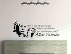 "Albert Einstein Inspirational Typography Quote Wall Decal ""Life Is Like Riding a Bicycle"" 45x16 Inches"