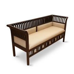 Exclusivelane Abella Teak Wood Three Seater Sofa Walnut - Relax in comfort on this elegantly handcrafted wooden sofa from our Wood Furniture Legs, Wood Sofa, Home Decor Furniture, Sofa Furniture, Teak Wood, Furniture Design, Wooden Sofa Set Designs, Living Room Sofa Design, Three Seater Sofa