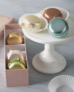 H7J7L Katherine's Collection Six French Macaron Glass Christmas Ornaments