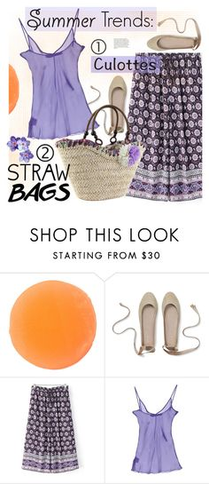 """""""Carry On: Straw Bags (plus culotte)"""" by ansev ❤ liked on Polyvore featuring Zelens, Francesco Scognamiglio and strawbags"""