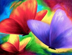 Colorful Butterfly Acrylic Painting by Jude Maceren
