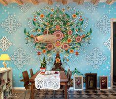 Papeis de parede, móveis e azulejos inspirados no México