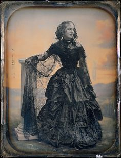 [Woman in Black Taffeta Dress and Lace Shawl]  Albert Sands Southworth  (American, West Fairlee, Vermont 1811–1894 Charlestown, Massachusetts)   Artist: Josiah Johnson Hawes (American, Wayland, Massachusetts 1808–1901 Crawford Notch, New Hampshire) Date: ca. 1850 Medium: Daguerreotype