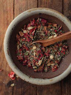Love Tea -- 1 part damiana, 1 part rose petals, 1/2 part cinnamon chips, 1/2 part dried strawberries, 1/4 part jasmine flowers