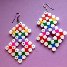 Earrings hama beads by slowsnailjewelry