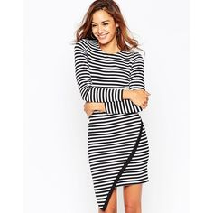ASOS Bodycon Dress in Stripe with Asymmetric Hem and Long Sleeve ($38) ❤ liked on Polyvore featuring dresses, stripe, wrap skirt, long sleeve striped dress, tall dresses, long sleeve body con dress and white long sleeve dress