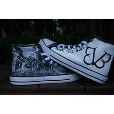 black veil brides inspired hand painted canvas high tops, made to... ($70) ❤ liked on Polyvore