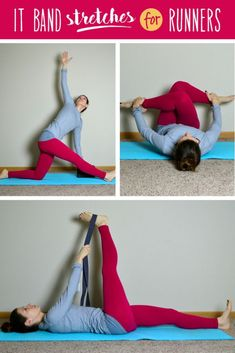 Fitness and Workout Tips 2017 : Stretches to help prevent or alleviate IT Band Pain – a great look at some poses… It Band Stretches, Knee Pain Exercises, Stretches For Runners, Band Exercises, Sciatica Exercises, Running Friends, Running Blogs, Running Tips, Routine