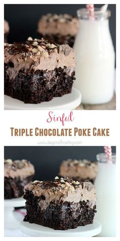 The Best Ever Sinful Triple Chocolate Poke Cake. Chocolate cake soaked in fudge … The Best Ever Sinful Triple Chocolate Poke Cake. Chocolate cake soaked in fudge and chocolate pudding with a hot chocolate whipped cream! 13 Desserts, Delicious Desserts, Gourmet Desserts, Poke Cake Recipes, Dessert Recipes, Pie Dessert, Chocolate Recipes, Cake Chocolate, Chocolate Cake With Strawberries