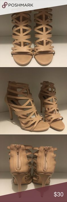 Nude opened heel No Paypal. No trades. No low ballers. Color: Nude Size: US 9 Heel size: 4  Worn once for my baby shower. I am not a size 9 but for all mommys out there know our feet grow or get swollen a little during pregnancy lol. They were comfortable. Super cute. I wish they were my actual size. I would've kept them. Good condition. Any questions let me know. Thank you!!! Shoes Heels