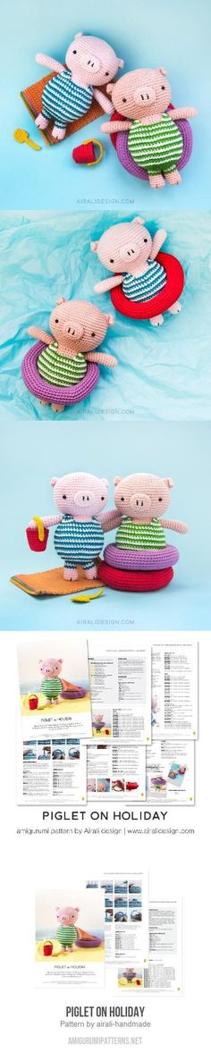 Piglet on holiday amigurumi pattern